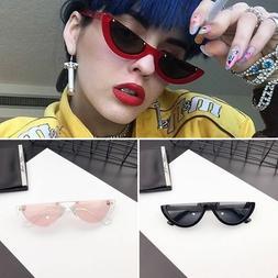 Fashion Women's Cat Eye Sunglasses Vintage Half Frame UV400