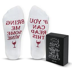 "Funny Wine Socks With Gift Box ""If You Can Read This Bring M"