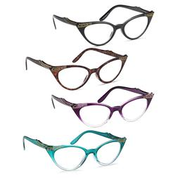 GAMMA RAY 3 Pairs Women Vintage Cat Eye Reading Glasses Read