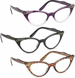Gamma Ray Women's Reading Glasses - 3 Pairs Chic Cat Eye Lad