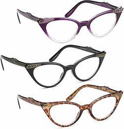 Gamma Ray Women's Reading Glasses - 3 Pairs Chic Cat Eye Lad