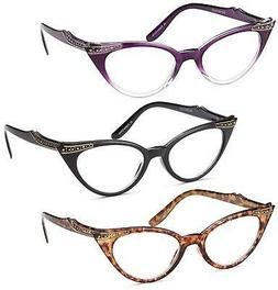 Gamma Ray Women's Reading Glasses - 3 Pairs Cat Eye Ladies F