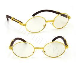Gold Oval Eye Glasses Clear Lens For Men Metal Wood Effect e