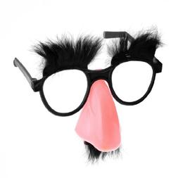 Groucho Glasses: Nose, Eyebrows And Fuzzy Mustache Glasses