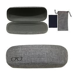 Yulan Hard Shell Glasses Case,Linen Fabric Case for Eyeglass