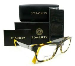 VERSACE Havana Yellow and Silver Men Rx.Glasses, New w/Case