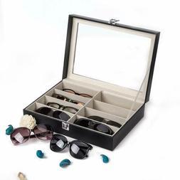 Leather 8 Slot Eye Glasses Case Storage Cover Eyewear Displa