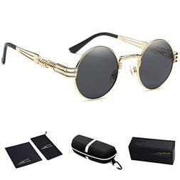Dollger John Lennon Round Sunglasses Steampunk Metal Spring