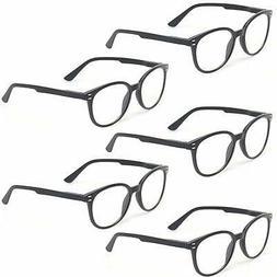 Kerecsen 5 Pairs Retro Round Frame Reading Glasses Spring Hi