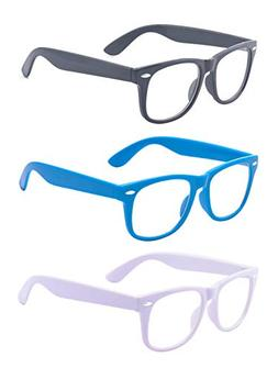 Outray 3 Pair Kids Children Nerd Retro Clear Lens Eye Glasse