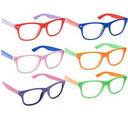 Kids Nerd Retro Two Color Frame Clear Lens Childrens Fake Ey