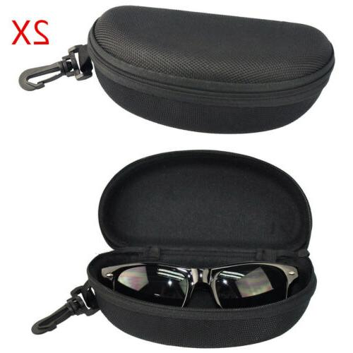 2PCS Portable Zipper Eye Glasses Sunglasses Clam Shell Hard