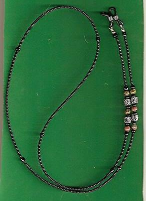 "Men's Eyeglass Chain~Matte Black w/ Silver & Jasper~28"" NEW~"