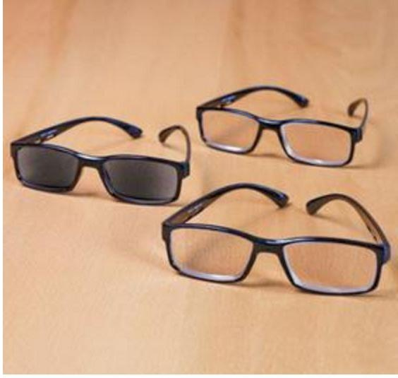 3 Reading Eyeglasses Sunreader Sunglass Eye Black Frames