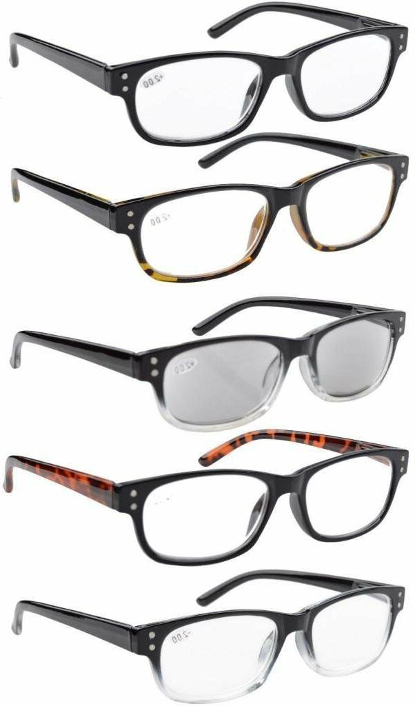 5-pack Spring Hinges Reading Glasses Eyeglasses Includes Sun