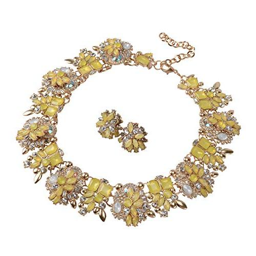 7 colors crystal vintage statement necklace earrings