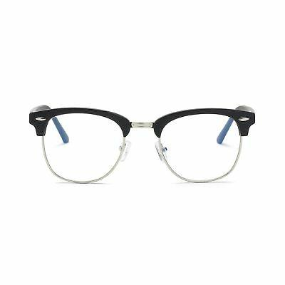 Amomoma Clubmaster Semi Rimless Eyeglasses Mirrored Polarize