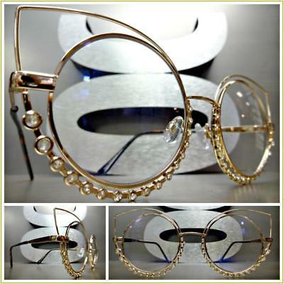 OVERSIZED VINTAGE RETRO Style Clear Lens EYE GLASSES Jumbo Orange Fashion Frame