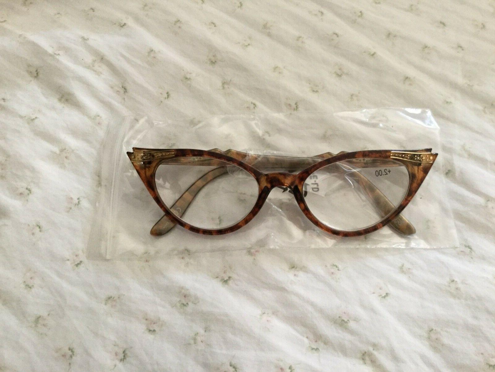"Gamma Ray Optics +2.00 Reading glasses Vintage ""Cat eye"" sty"
