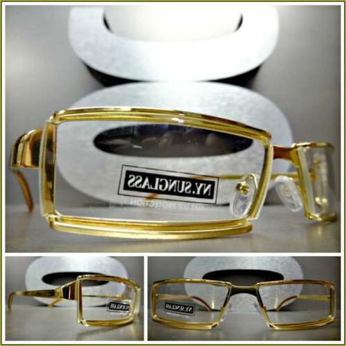 Men's CONTEMPORARY MODERN Style Clear Lens EYE GLASSES Gold