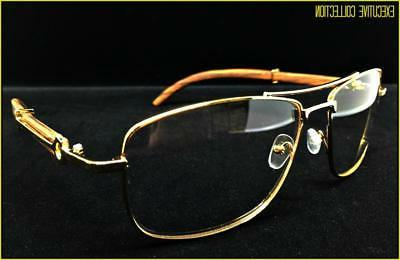 Men's Elegant Style Clear GLASSES Large Gold Wood Frame