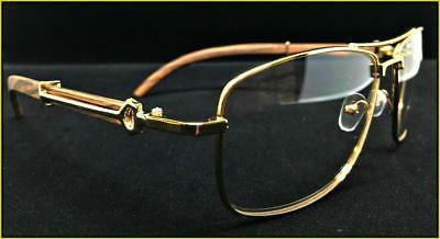 Men's Classy Retro Style Clear EYE GLASSES Large Gold Wood Frame