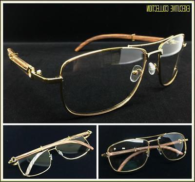 Men/'s Classy Elegant Retro Style Clear Lens EYE GLASSES Large Gold /& Wood Frame