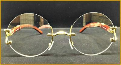 Men's Style Round EYE GLASSES Wood Frame