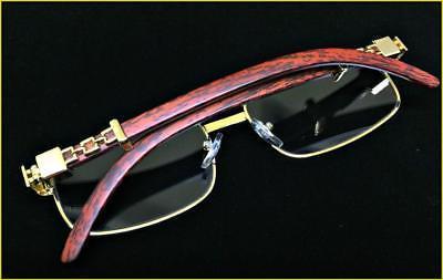 Mens Elegant Retro Style Clear Lens GLASSES Gold & Wood Fashion Frame