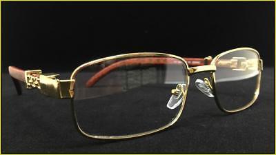 Mens Retro Style EYE GLASSES Gold & Wood Fashion