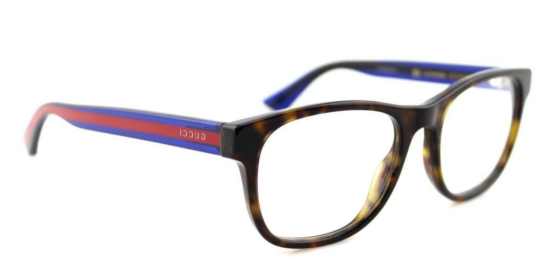 NEW GUCCI Mens Havana Blue Transparent Stripe Eye Glasses Fr