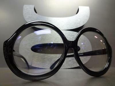 Clear Lens EYE Huge Large Round Black Frame