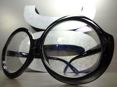 OVERSIZE VINTAGE RETRO Clear Huge Round Black Frame