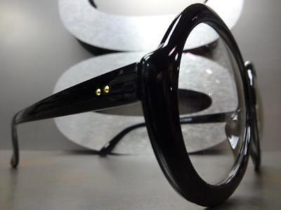 OVERSIZE VINTAGE Clear EYE GLASSES Huge Large Round Black Frame