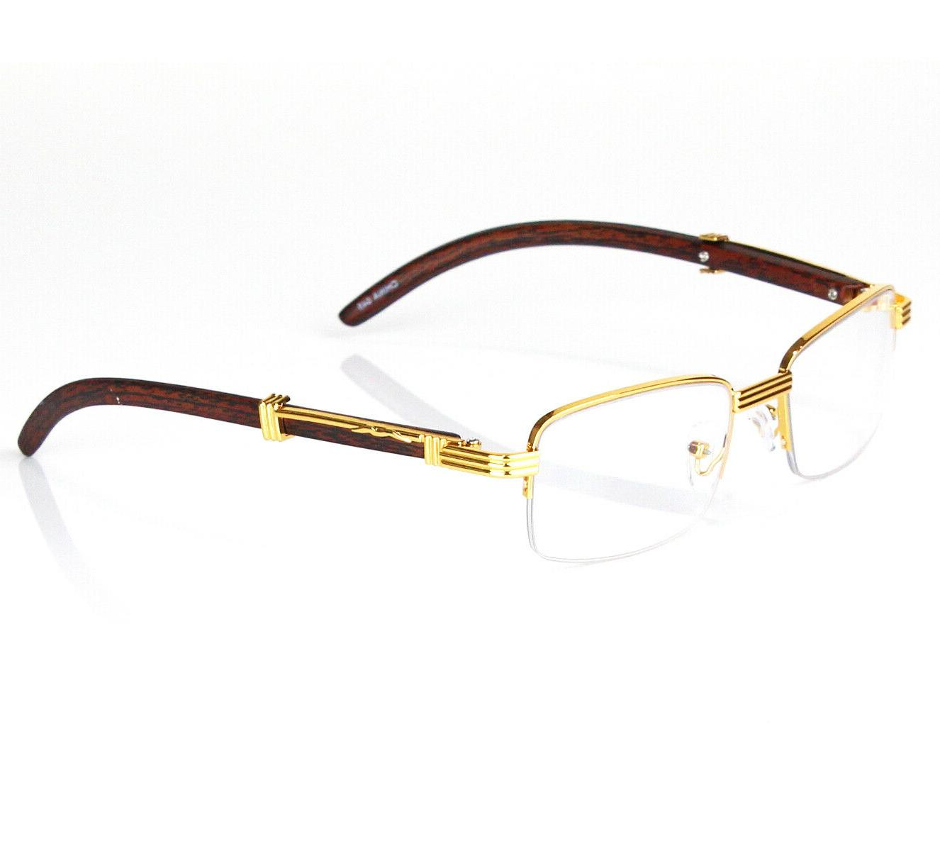 Womens Men Retro Vintage Clear Lens Gold Half Frame Fashion