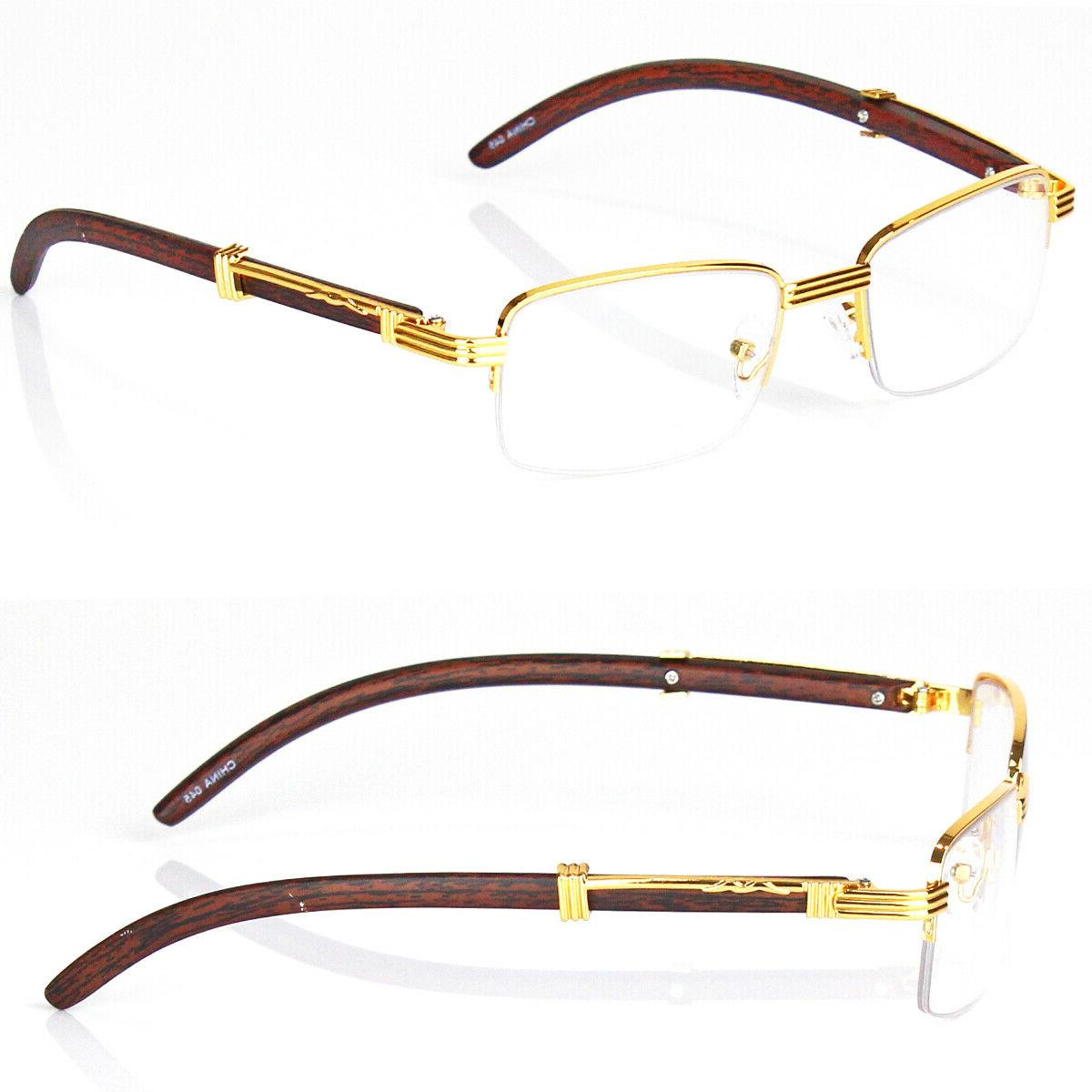 Retro Vintage Clear Lens Gold Wood Frame Fashion Eye Glasses