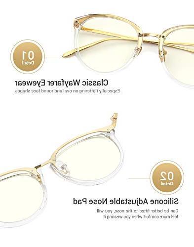 TIJN Block Glasses Round Eyewear Non-prescription Eyeglasses