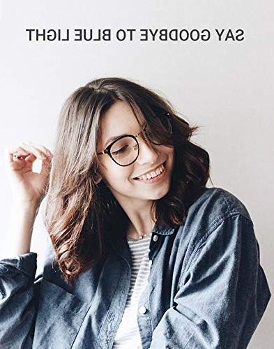 TIJN Blue Light Block Glasses Round Optical Non-prescription Eyeglasses Frame Women