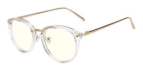 TIJN Light Block Glasses Round Optical Eyeglasses Frame for
