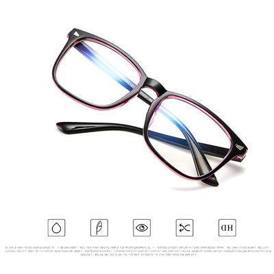 Blue Anti-UV Eyewear Large Frame Plain Glasses