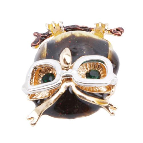 Cartoon Owl Brooches Eye Glasses Clothes Pins