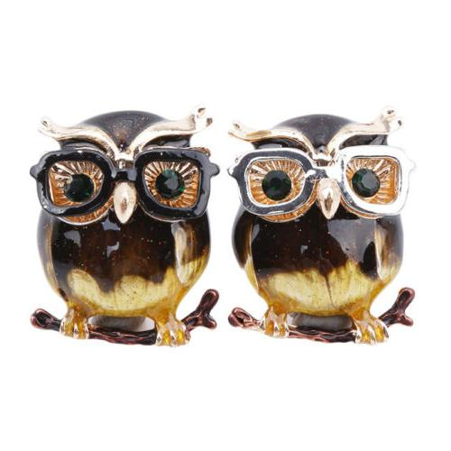 Cartoon Owl Brooches Alloy Eye Glasses Metal Clothes