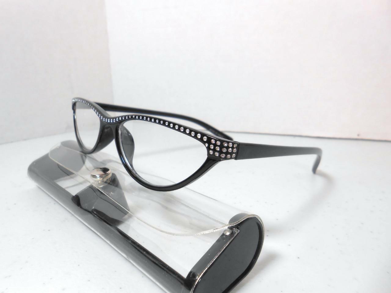 Cat Eye Style Reading Glasses Case Rhinestone Look & STRENGTH V7
