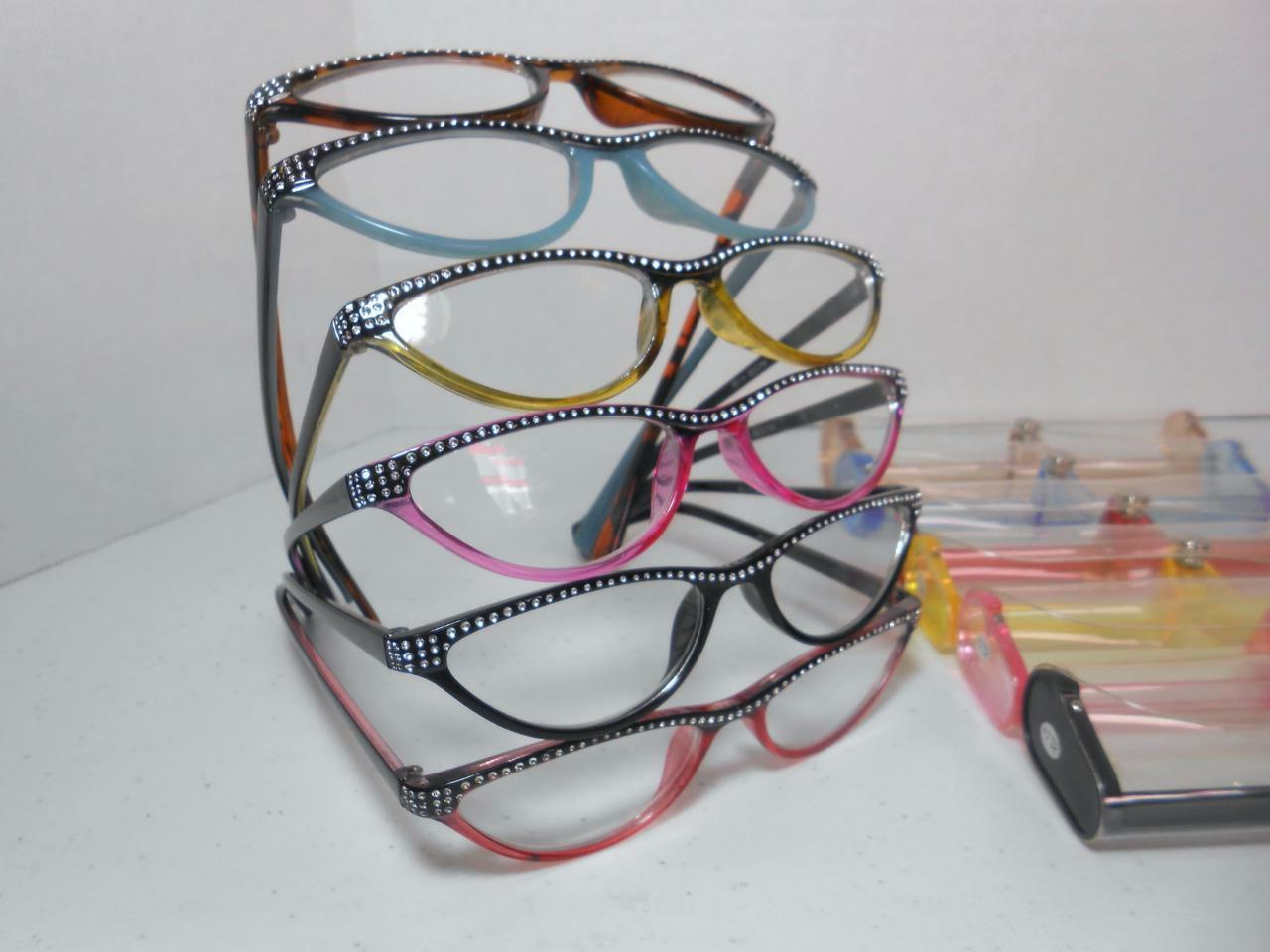 cat eye style reading glasses and case