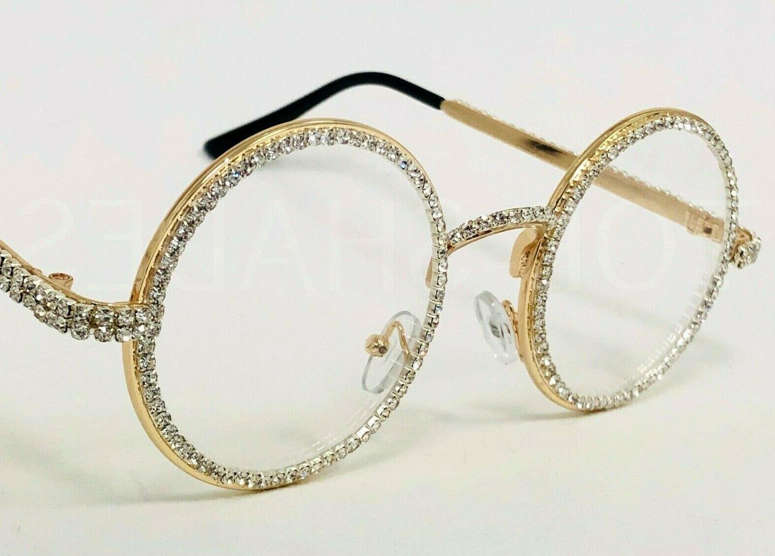 Diamond Bling Gold Metal Round Eye Glasses Sunglasses