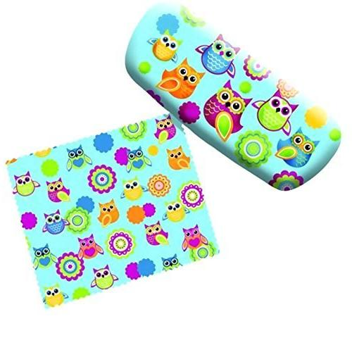 eyeglass case funky owls with lens cloth
