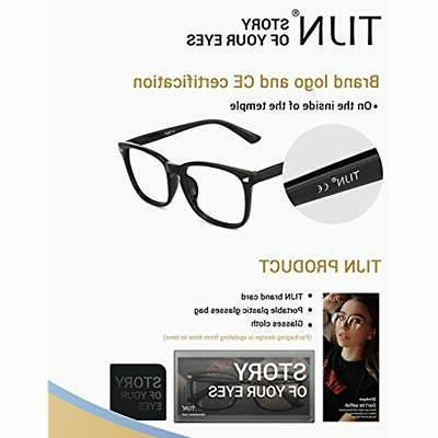 TIJN Eyewear Frames Light Blocking Glasses Square Nerd Eyeglasses Anti Ray