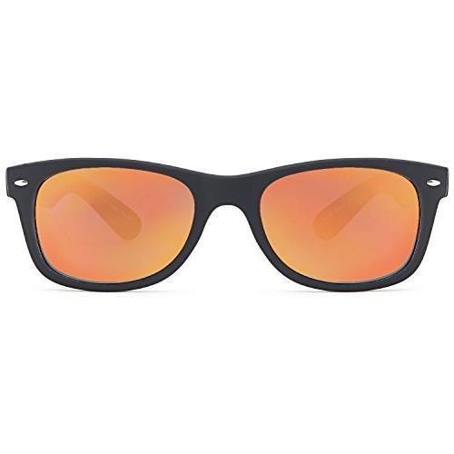 GAMMA RAY UV400 Sunglasses Large Mirror Orange on Black