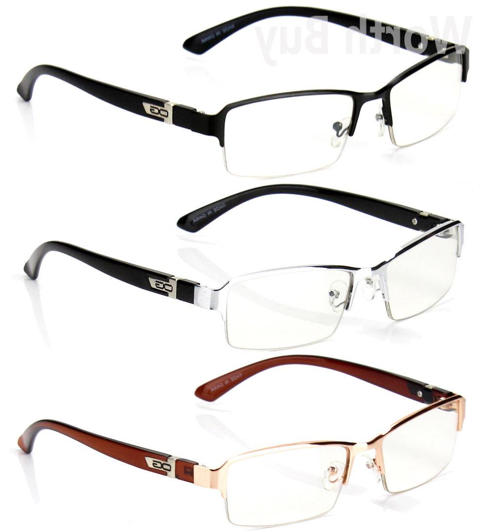 half rim men women clear lens frame