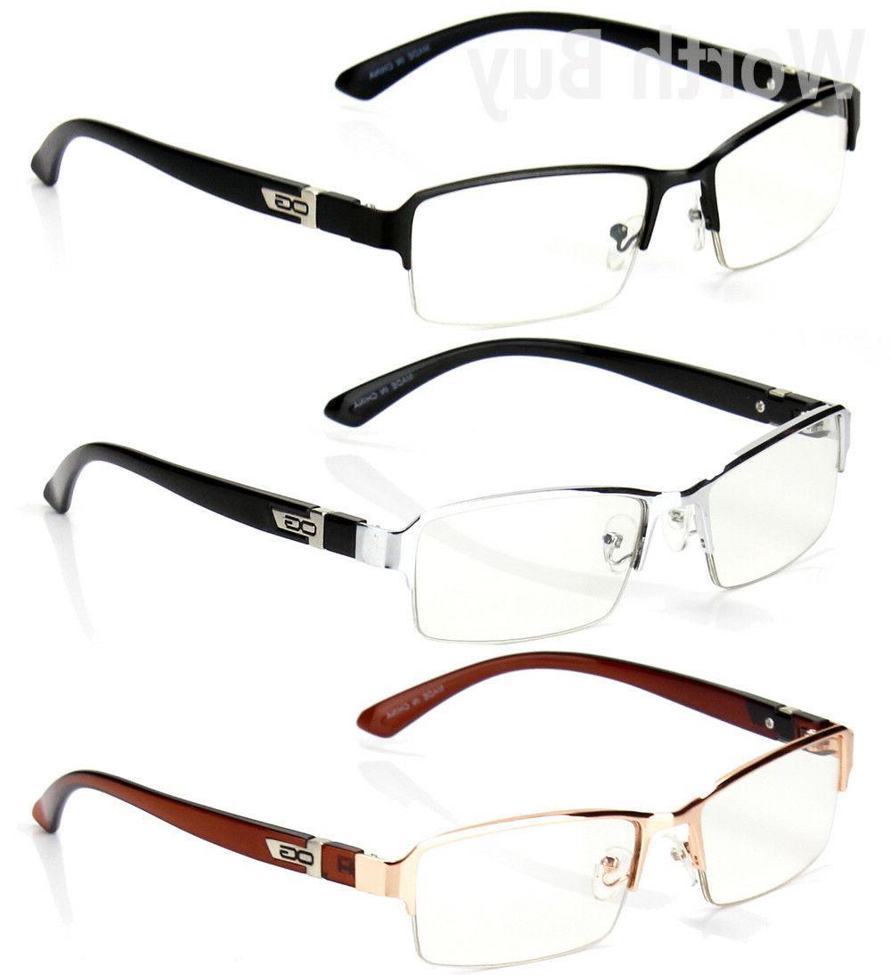 half rim men women eyewear clear lens